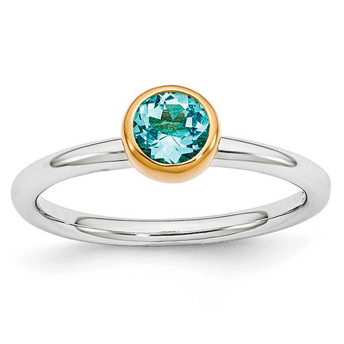 Sterling Silver Stackable Gold-plated 1/2 ct Blue Topaz Ring
