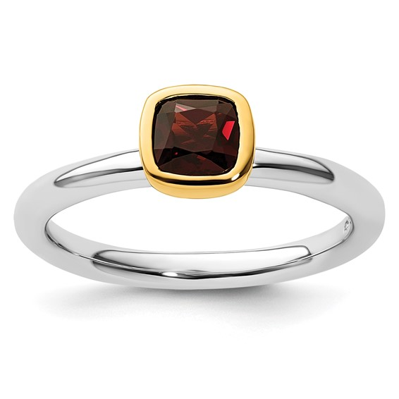 Sterling Silver Stackable Square Gold-plated Garnet Ring
