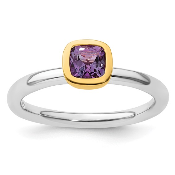 Sterling Silver Stackable Square Gold-plated Amethyst Ring