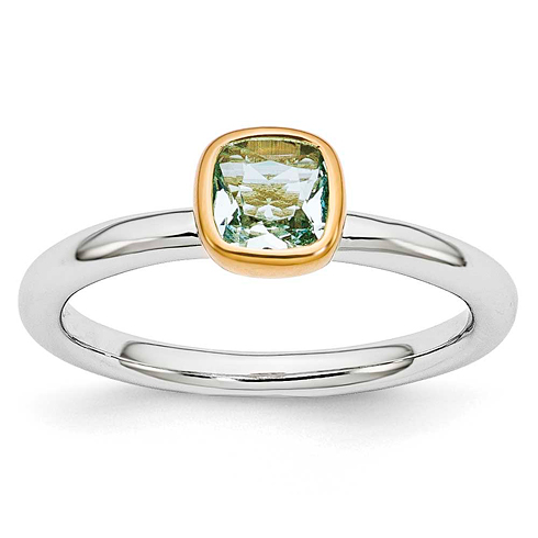 Sterling Silver Stackable Square Gold-plated Aquamarine Ring