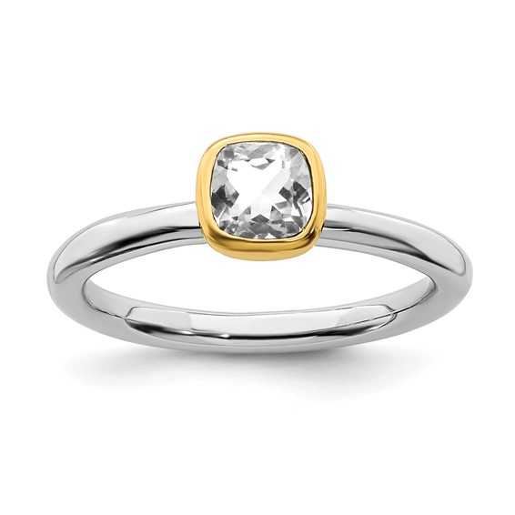 Sterling Silver Stackable Square Gold-plated White Topaz Ring