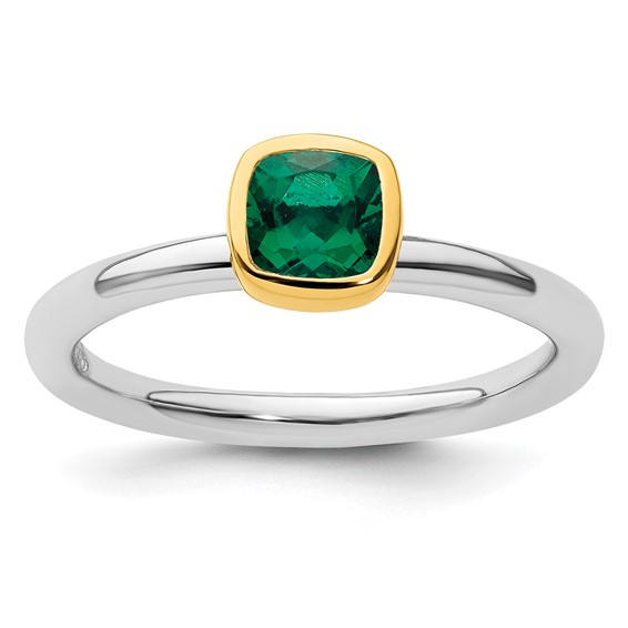 Sterling Silver Stackable Square Gold-plated Created Emerald Ring