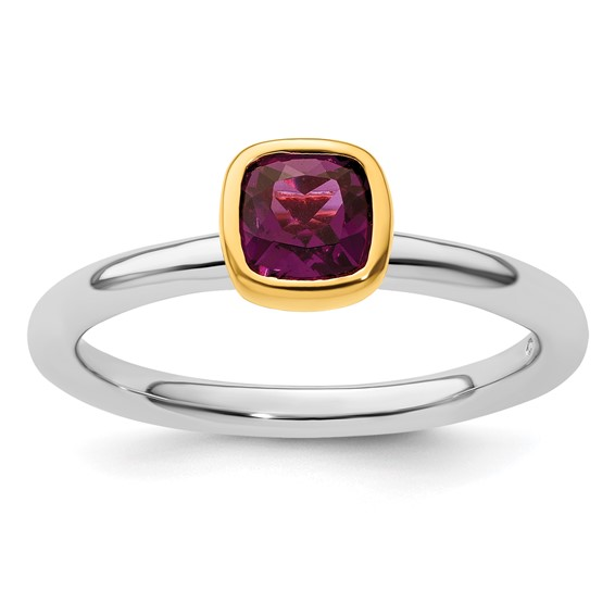 Sterling Silver Stackable Square Gold-plated Rhodolite Garnet Ring