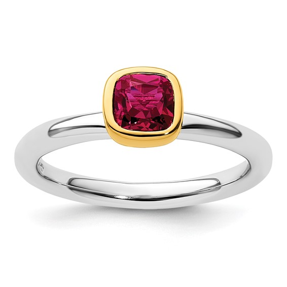 Sterling Silver Stackable Square Gold-plated Created Ruby Ring