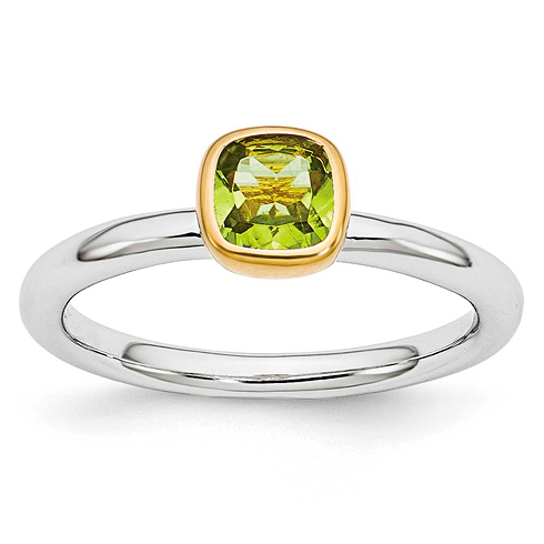 Sterling Silver Stackable Square Gold-plated Peridot Ring