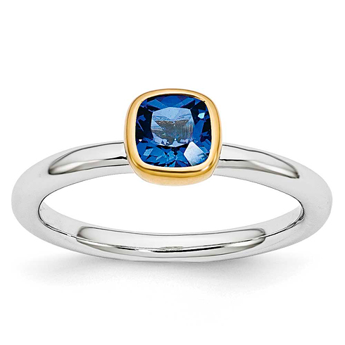 Sterling Silver Stackable Square Gold-plated Created Sapphire Ring