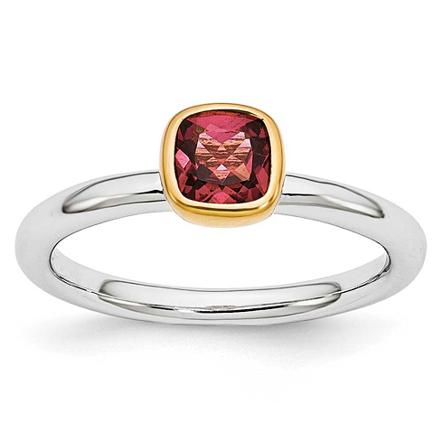 Sterling Silver Stackable Square Gold-plated Pink Tourmaline Ring