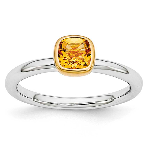 Sterling Silver Stackable Square Gold-plated Citrine Ring