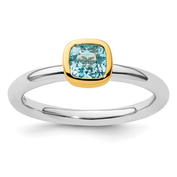 Sterling Silver Stackable Square Gold-plated Blue Topaz Ring