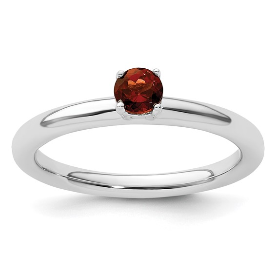 Sterling Silver Stackable Expressions Garnet Solitaire Ring