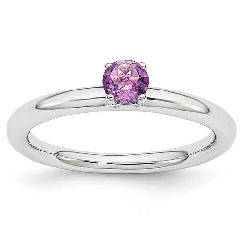 Sterling Silver Stackable Expressions Amethyst Solitaire Ring