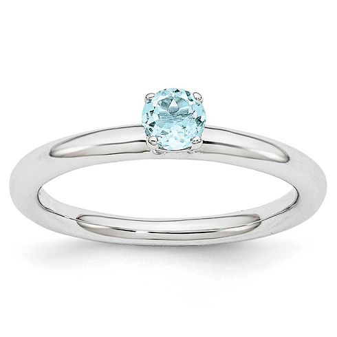 Sterling Silver Stackable Expressions Aquamarine Solitaire Ring