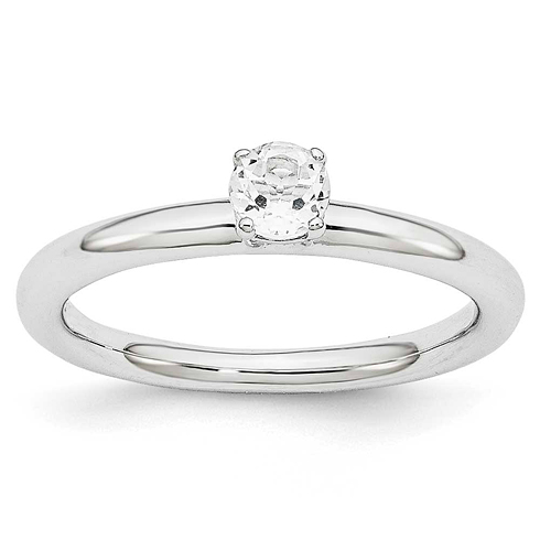 Sterling Silver Stackable Expressions White Topaz Solitaire Ring