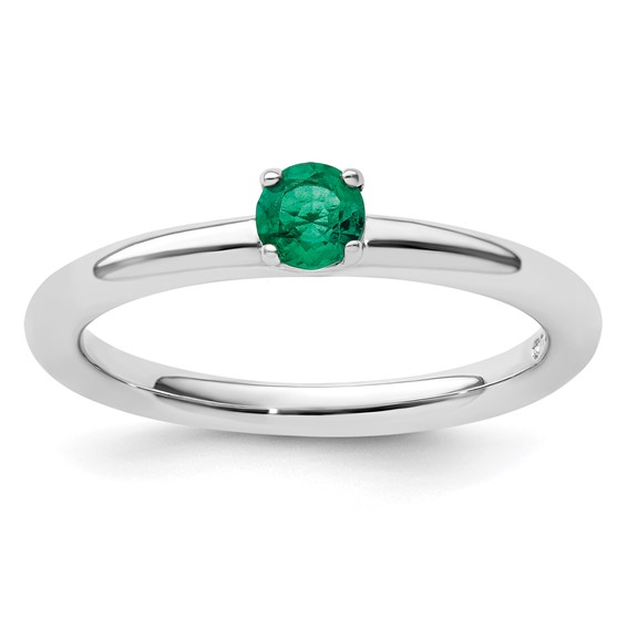 Sterling Silver Stackable 1/4 ct Created Emerald Solitaire Ring