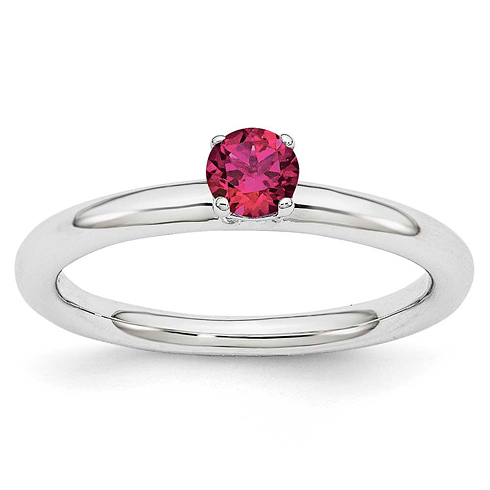 Sterling Silver Stackable Expressions Created Ruby Solitaire Ring