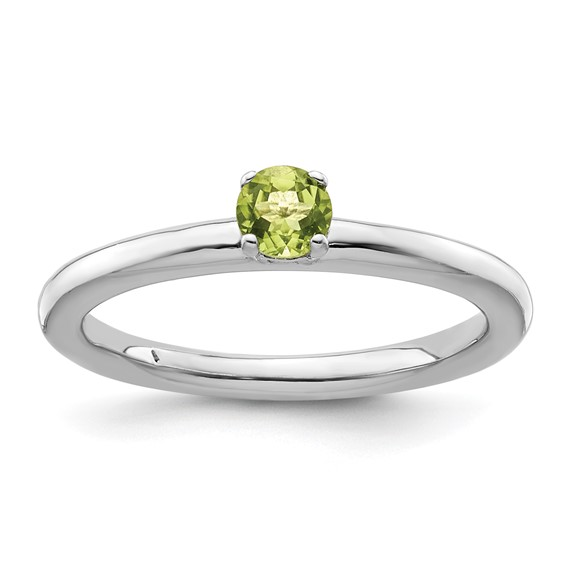 Sterling Silver Stackable Expressions Peridot Solitaire Ring