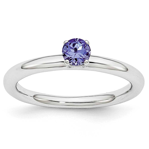Sterling Silver Stackable Expressions 1/4 ct Created Sapphire Ring
