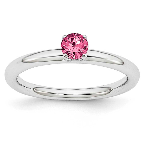 Sterling Silver Stackable Expressions 3/10 ct Pink Tourmaline Ring