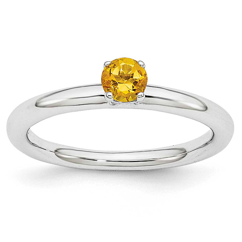 Sterling Silver Stackable Expressions Citrine Solitaire Ring