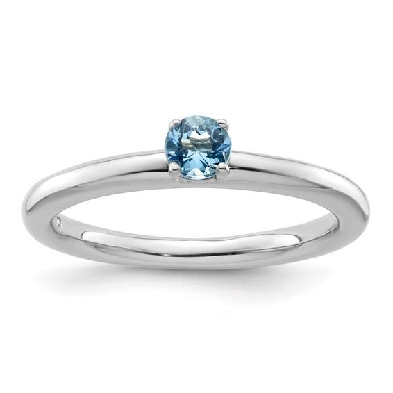 Sterling Silver Stackable Expressions Blue Topaz Solitaire Ring