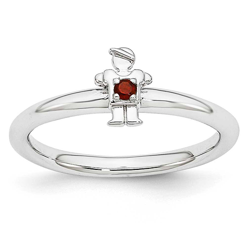 Sterling Silver Stackable Expressions Garnet Boy Ring