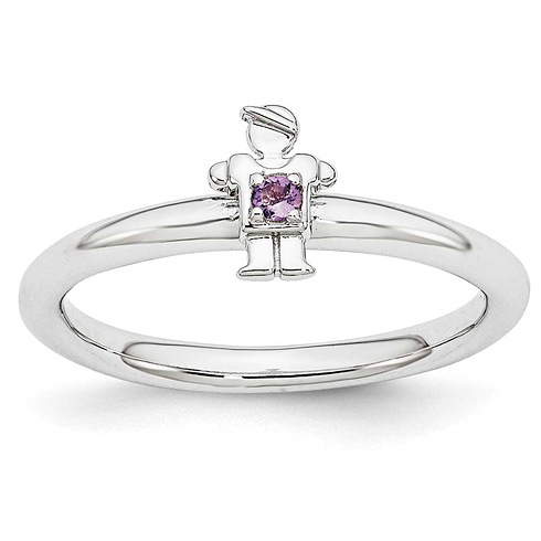Sterling Silver Stackable Expressions Amethyst Boy Ring
