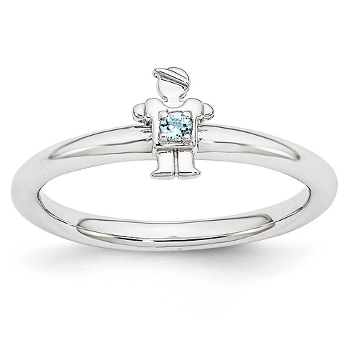 Sterling Silver Stackable Expressions Aquamarine Boy Ring