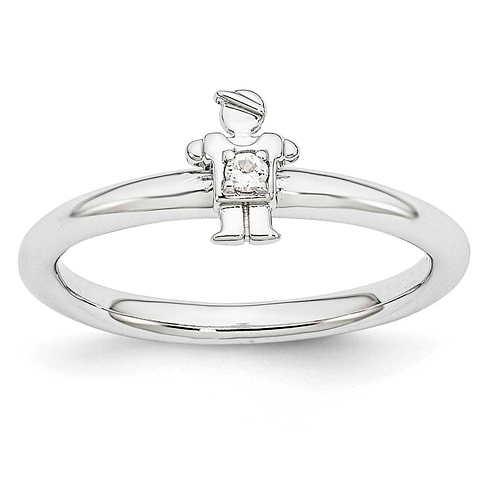 Sterling Silver Stackable Expressions White Topaz Boy Ring