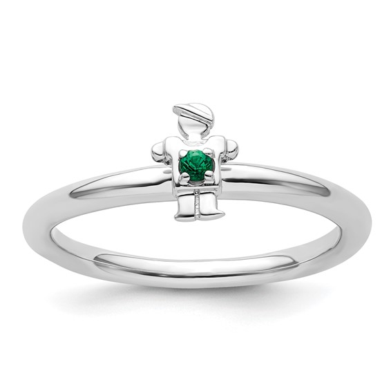 Sterling Silver Stackable Expressions Created Emerald Boy Ring