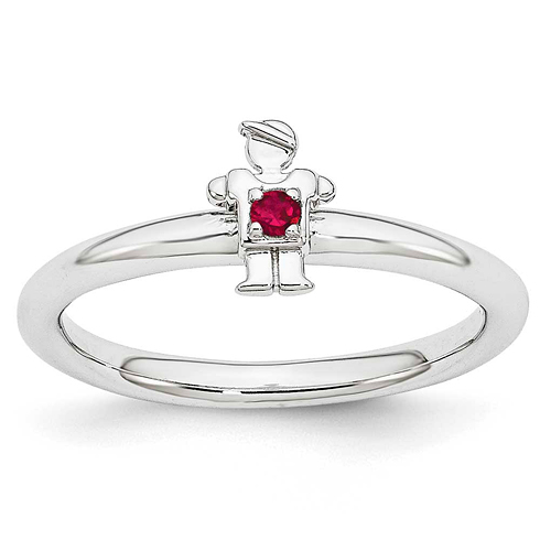 Sterling Silver Stackable Expressions Created Ruby Boy Ring