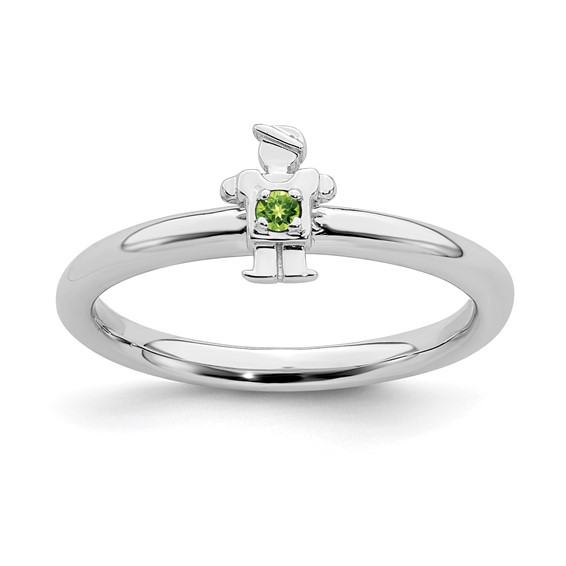 Sterling Silver Stackable Expressions Peridot Boy Ring