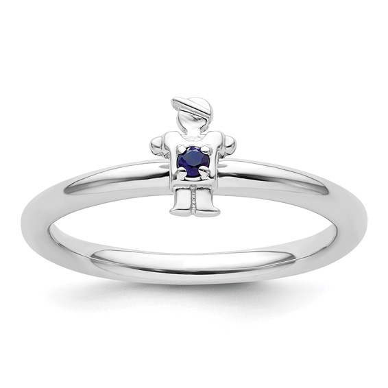 Sterling Silver Stackable Expressions Created Sapphire Boy Ring