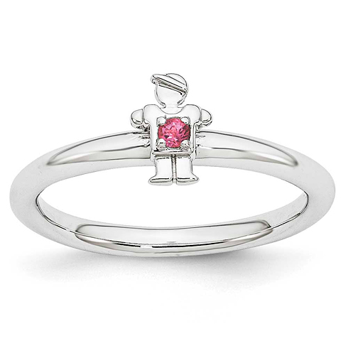 Sterling Silver Stackable Expressions Pink Tourmaline Boy Ring