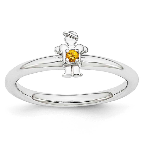 Sterling Silver Stackable Expressions Citrine Boy Ring