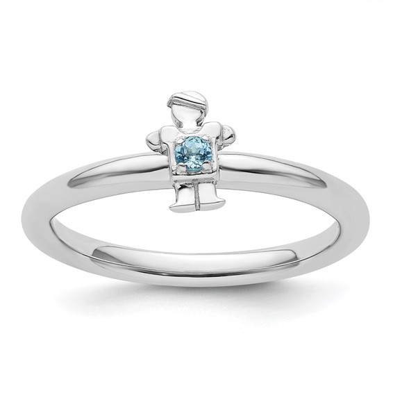 Sterling Silver Stackable Expressions Blue Topaz Boy Ring