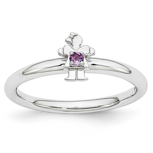 Sterling Silver Stackable Expressions Amethyst Girl Ring