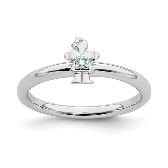 Sterling Silver Stackable Expressions Aquamarine Girl Ring
