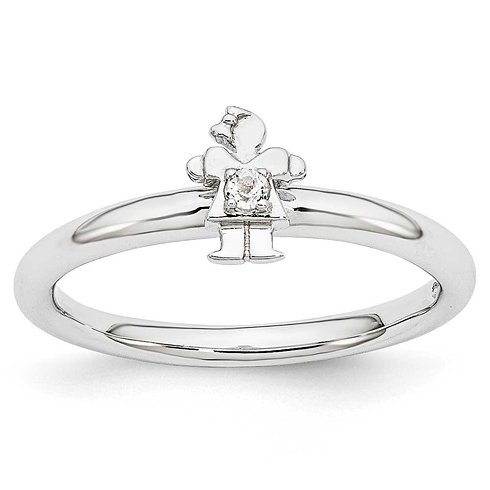 Sterling Silver Stackable Expressions White Topaz Girl Ring