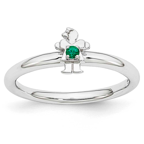 Sterling Silver Stackable Expressions Created Emerald Girl Ring