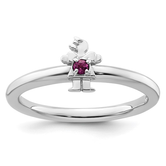 Sterling Silver Stackable Expressions Rhodolite Garnet Girl Ring