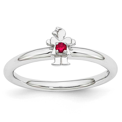 Sterling Silver Stackable Expressions Created Ruby Girl Ring