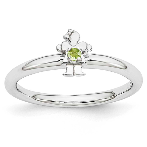 Sterling Silver Stackable Expressions Peridot Girl Ring