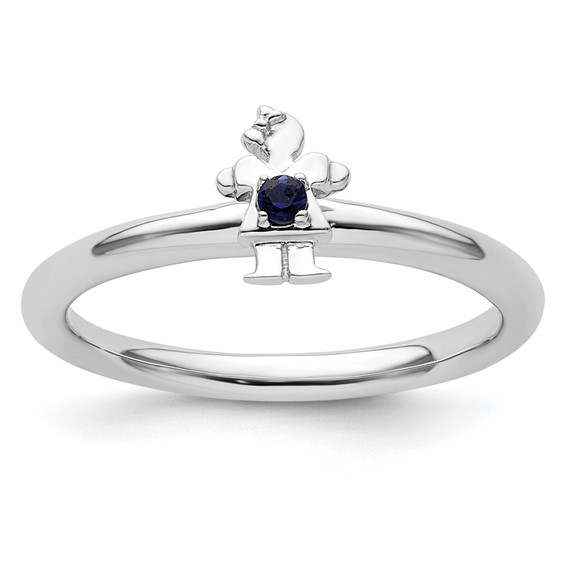 Sterling Silver Stackable Expressions Created Sapphire Girl Ring