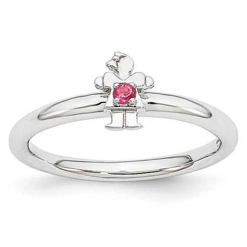 Sterling Silver Stackable Expressions Pink Tourmaline Girl Ring