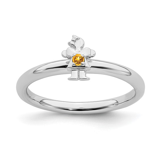 Sterling Silver Stackable Expressions Citrine Girl Ring