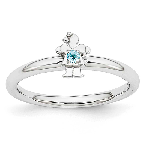 Sterling Silver Stackable Expressions Blue Topaz Girl Ring