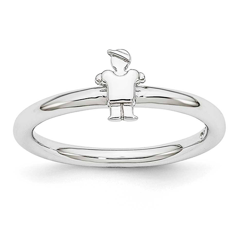 Sterling Silver Stackable Expressions Rhodium Boy Ring