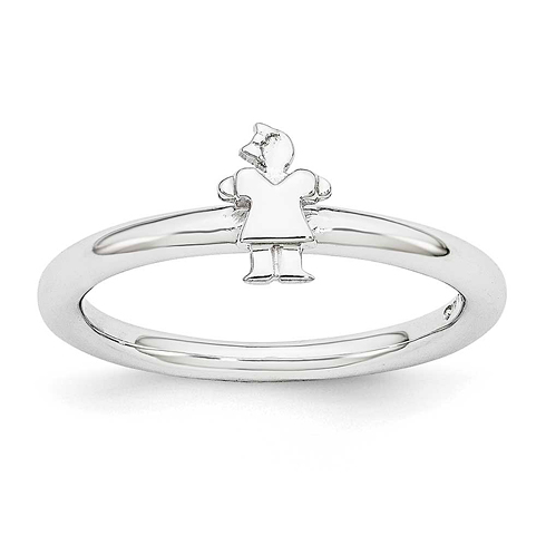 Sterling Silver Stackable Expressions Rhodium Girl Ring