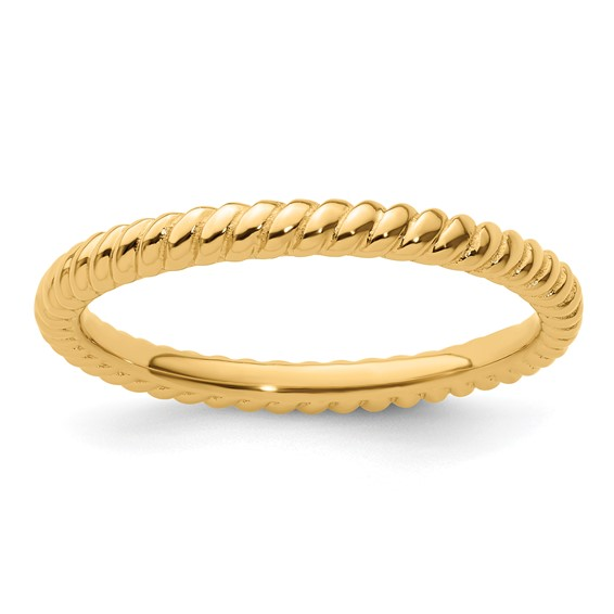 Gold-plated Sterling Silver Stackable 2.25mm Twisted Ring