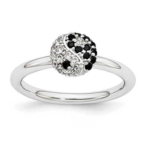 Sterling Silver Stackable Ying Yang White Topaz & Onyx Ring